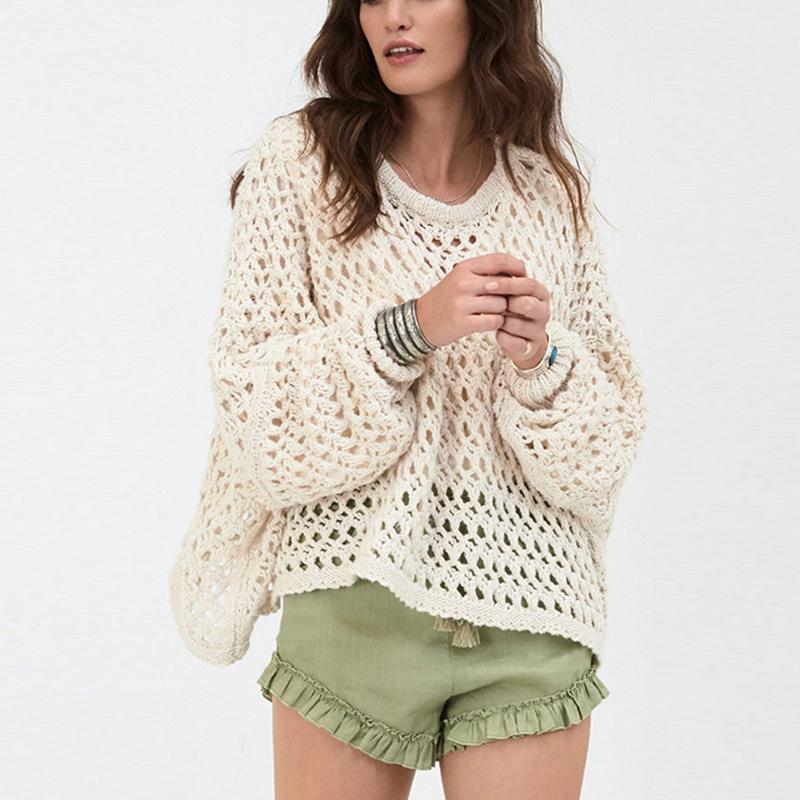 Fashionable Pure Color   Hollow Lantern Sleeve Sweater