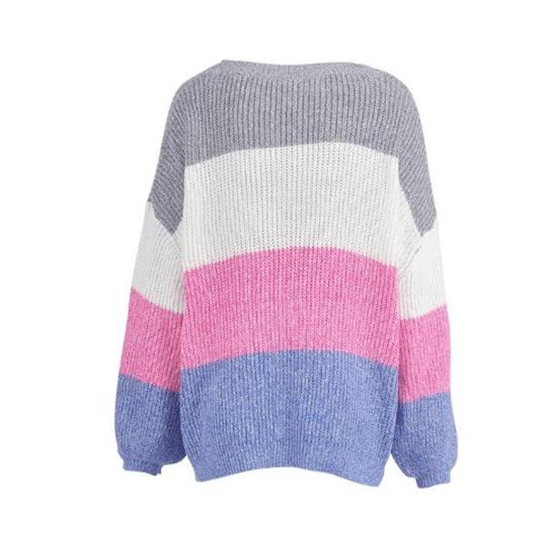 Casual Fashion Loose Color Block Long Sleeve Sweater