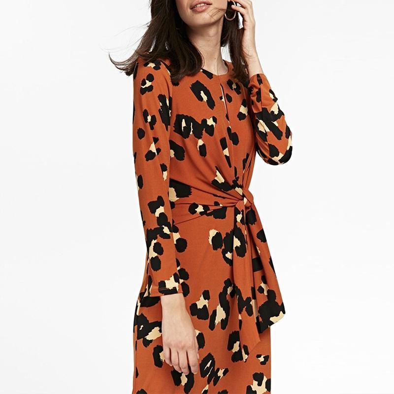 Round Neck Long Sleeve Knot Leopard Printed Casual Dress