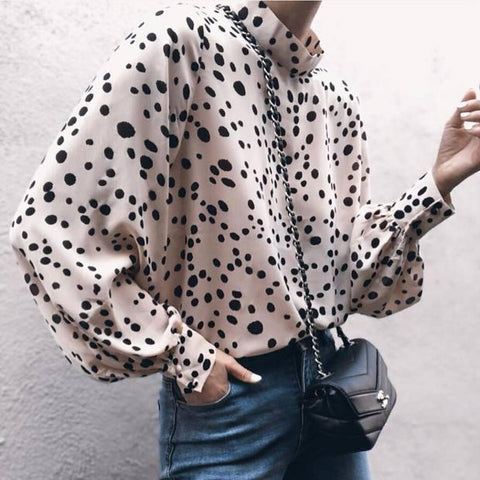 Fashion Vertical Collar Point Printing Long-Sleeved Loose Chiffon Shirt