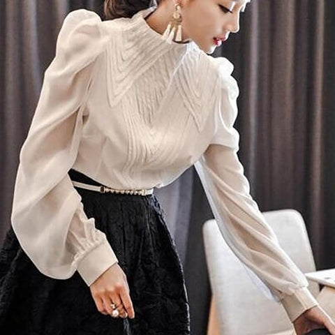 Fashion Bishop Sleeve Stand Collar Chiffon Shirt