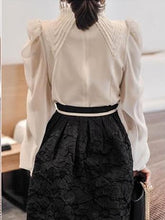 Load image into Gallery viewer, Fashion Bishop Sleeve Stand Collar Chiffon Shirt