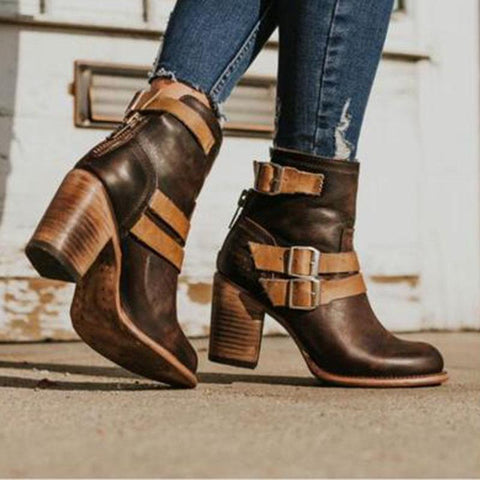 Fashion Vintage Chunky Heel Ankle Boots