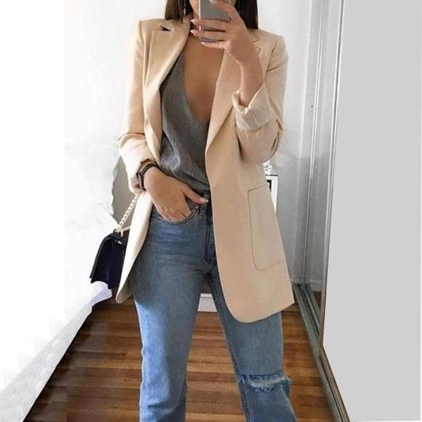 Casual Pure Color Lapel Slim Cardigan Style Coat