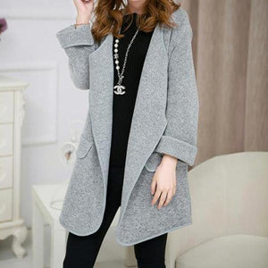 Autumn And Winter Warm   Long Knit Cardigan With A Big Lapel