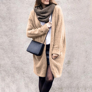 Casual Pure Color Long   Sleeve Loose Knit Cardigan Jacket Coat