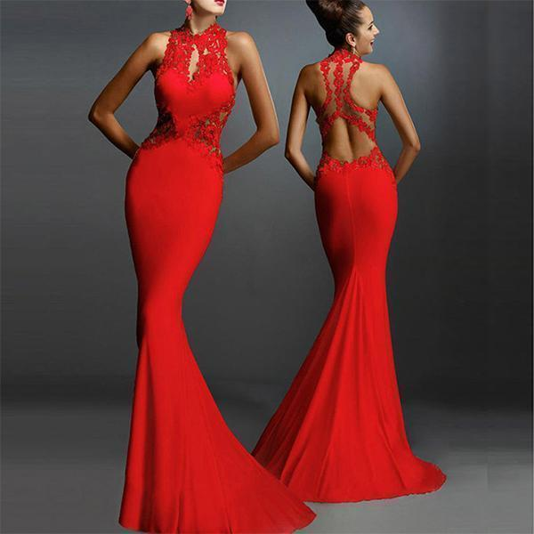 Round Neck Sleeveless Sexy Fishtail Evening Dress