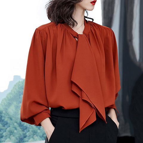 Autumn Spring Women Tie Collar Plain Long Sleeve Blouse