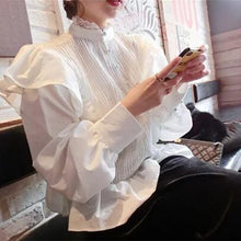 Load image into Gallery viewer, Fashion Lace Ruffled Splicing Pure Colour Shirt