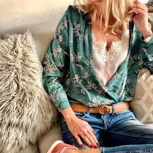 Casual Sexy Deep V   Neck Floral Print Shirt Blouse