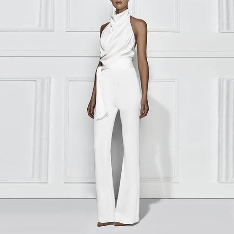 Solid Color Sleeveless Stant Collar Jumpsuit