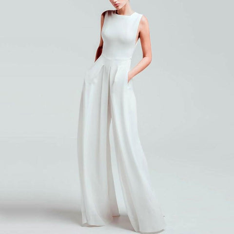 Casual Square-Cut Collar Pure Color Sleeveless Jumpsuit