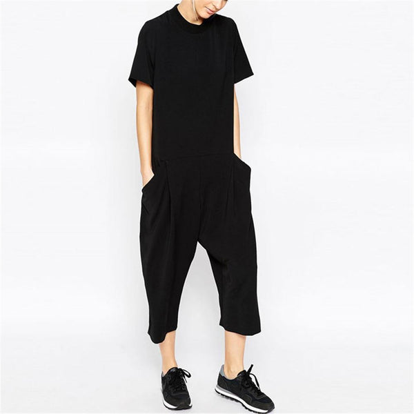 Fashion Round Collar Plain Black Loose Jumpsuit