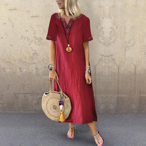Women's Loose Medium And Long Short-Sleeved Retro Embroidery Casual Maxi Dress