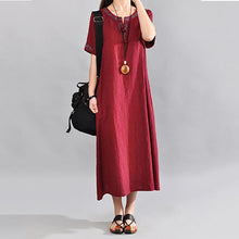 Load image into Gallery viewer, Women's Loose Medium And Long Short-Sleeved Retro Embroidery Casual Maxi Dress