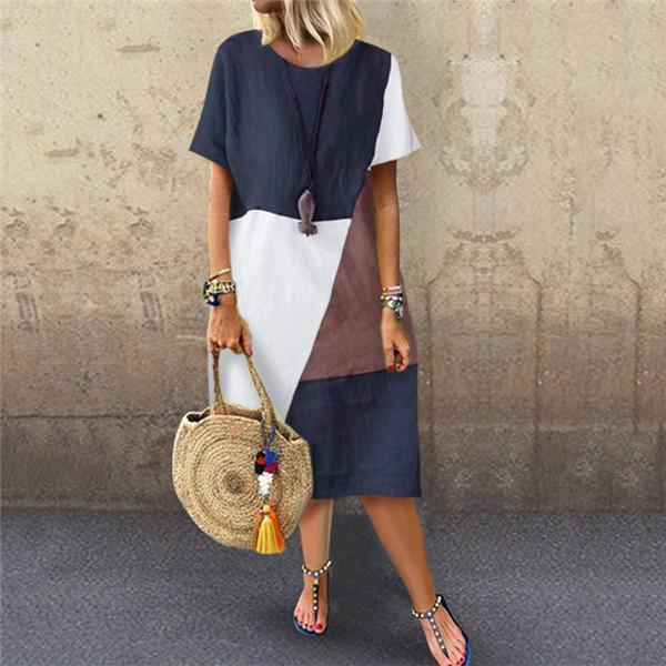 Topshe Fashion Cotton And Hemp Stitching Casual Dresses