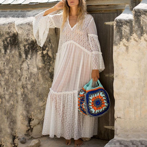 V-Neck Openwork Lace Perspective Horn Sleeve Vacation Dress