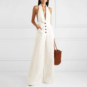 Single-Breasted V Neck Bare Back Jumpsuit