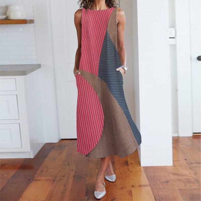 Vintage Sleeveless Striped High-Waist Contrast Color Maxi Dress