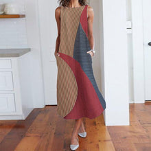 Load image into Gallery viewer, Vintage Sleeveless Striped High-Waist Contrast Color Maxi Dress