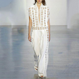 Fashion Beaded Openwork Stitching Loose Sleeveless Jumpsuits