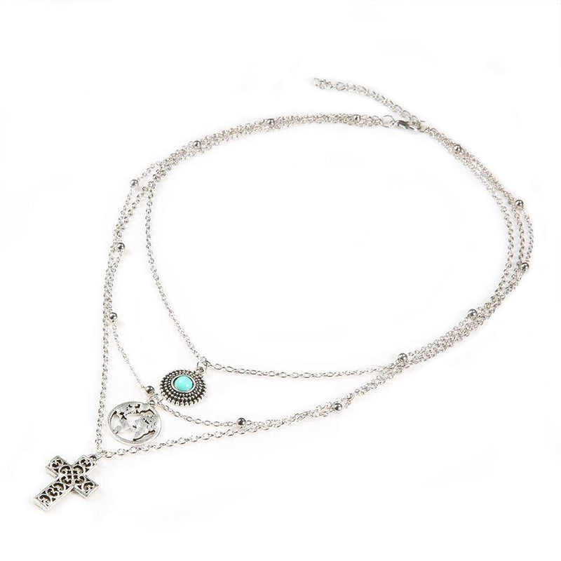 Fashion Map Cross Micro-Set Turquoise Multi-Layer Necklace