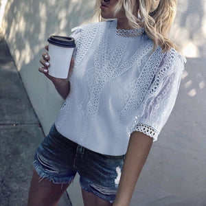 Classy Short Sleeve Splicing Lacework Pure Colour Blouse