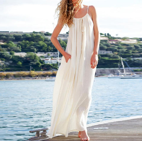 Bohemia Pure Color Loose Sling Vacation Dress