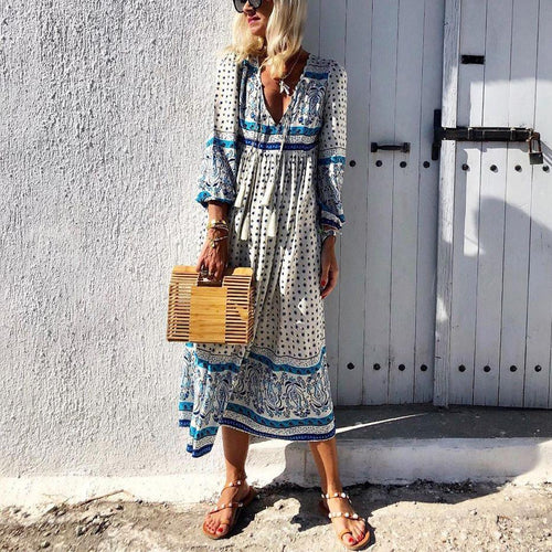 V-Neck Cotton And Linen Printed Tassel Maxi Dress