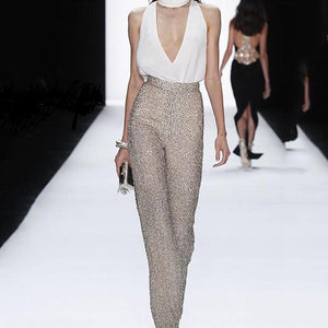 Sexy V Neck Sleeveless High-Waist Rhinestone Paillette Suit Jumpsuit