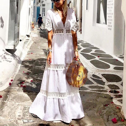 Solid Color V-Neck Stitching Cutout Vacation Dress