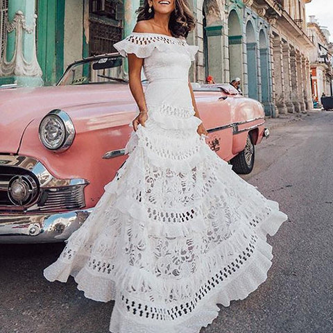One-Shouldered Ruffled Openwork Lace Stitching Vacation Dress