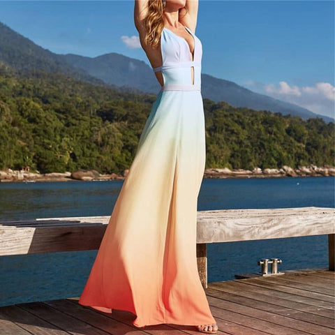 Sexy Sleeveless Gradient Hollowing Out Vacation Dress