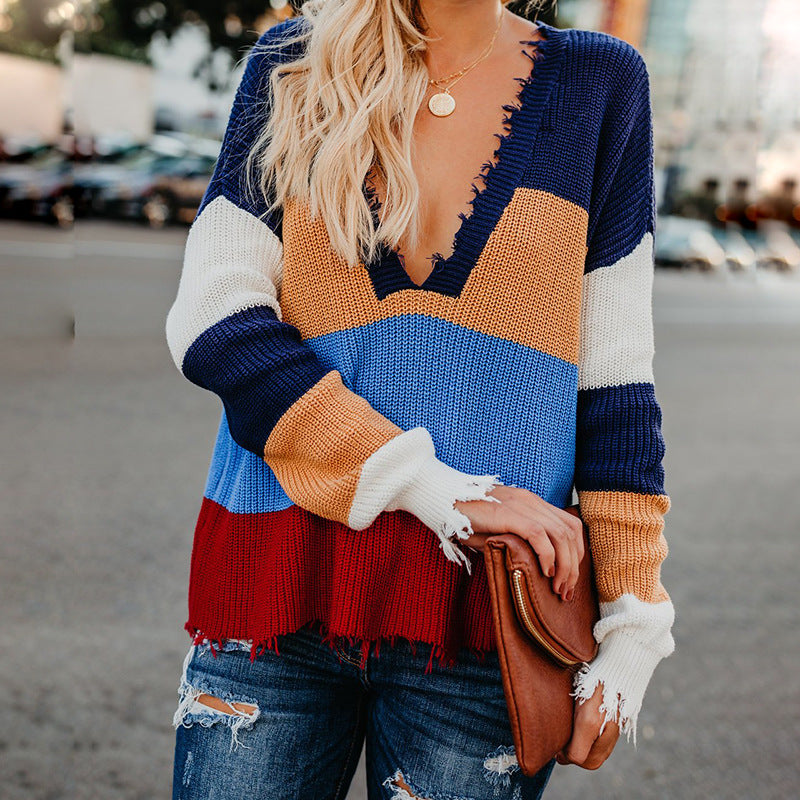 Women's Stitching Striped Top Sweater