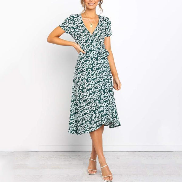 Fashion V-Neck Short Sleeve Print Midi Dress