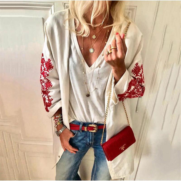 Fashion Printed Long Sleeve Loose Cardigans
