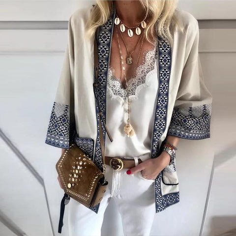 Casual V-Neck Solid Color Lace Sling Lined Print Long Sleeve Cardigan