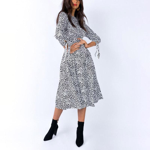 Round Neck Leopard Print High Slit Bare Back Midi Dress