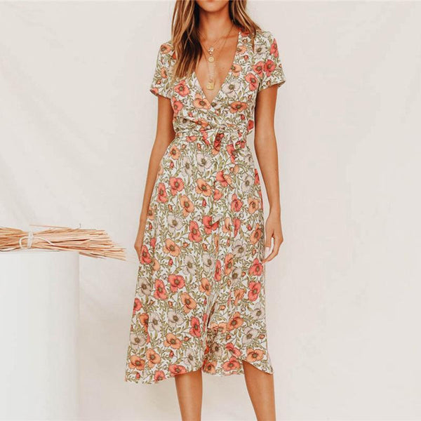 V Neck Short Sleeve Printed Colour Slit Irregular Sexy Midi Dress