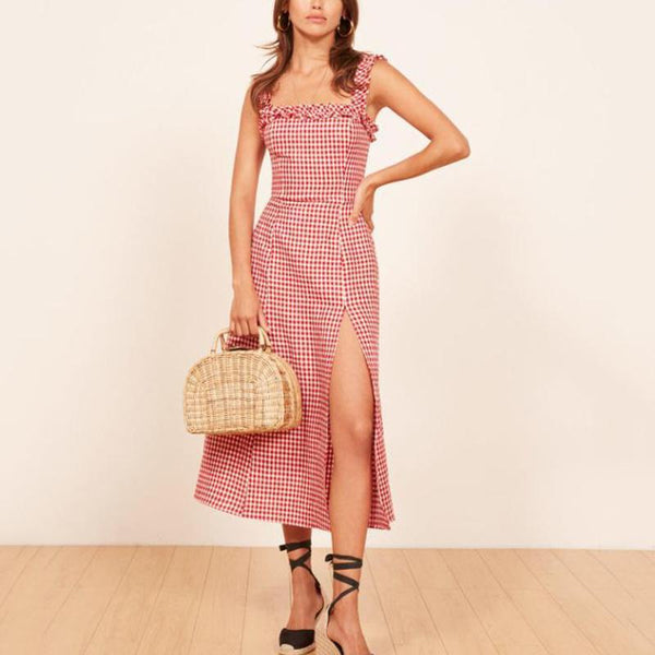 Casual Square Collar Wooden Plaid Waist Midi dress
