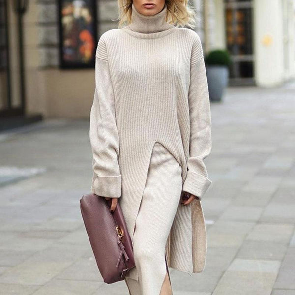 Fashion Solid Color High Collar Long Sleeve Split Long Sweater
