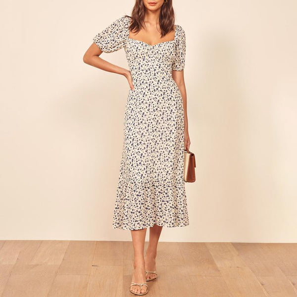 Boat Neck Printed Colour Ruffled Off-Shoulder Midi dress