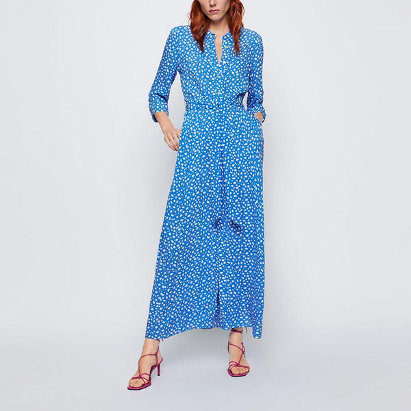 Turndown Collar Ankle-Length Printed Colour Single-Breasted Midi dress