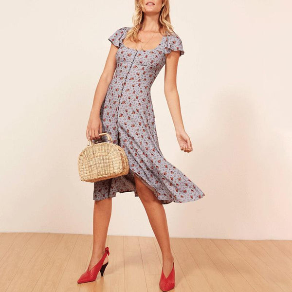 Square-Cut Collar Floral Pattern Single-Breasted Belted Midi dress