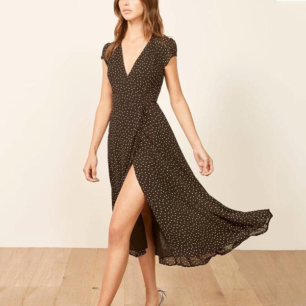 V Neck Short Sleeve Polka Dot Slit Belted Midi dress