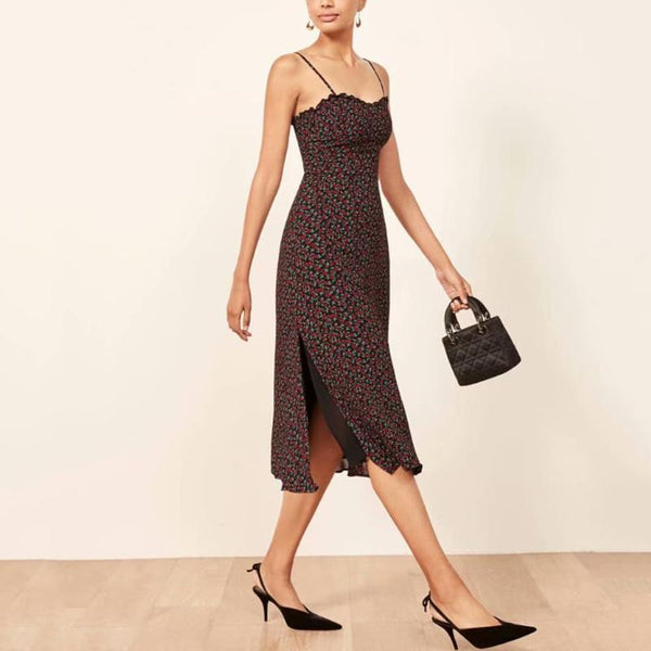 Casual Floral Printed Spaghetti Strap Midi dress