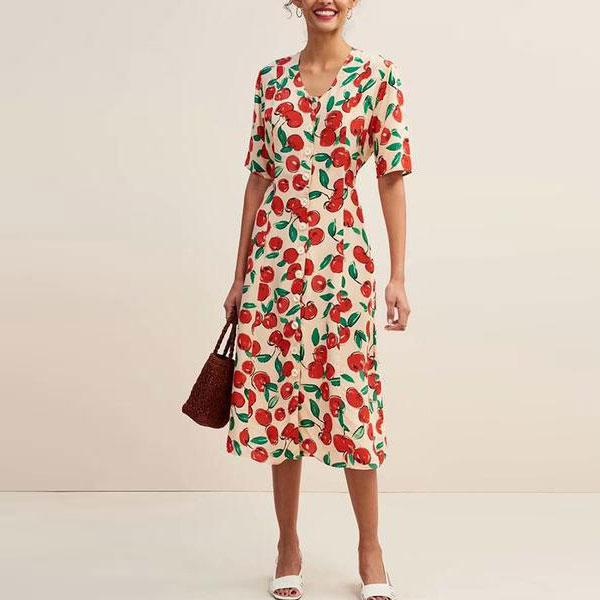 Casual U-Neck Short-Sleeved Printed Single-Breasted Midi Dress