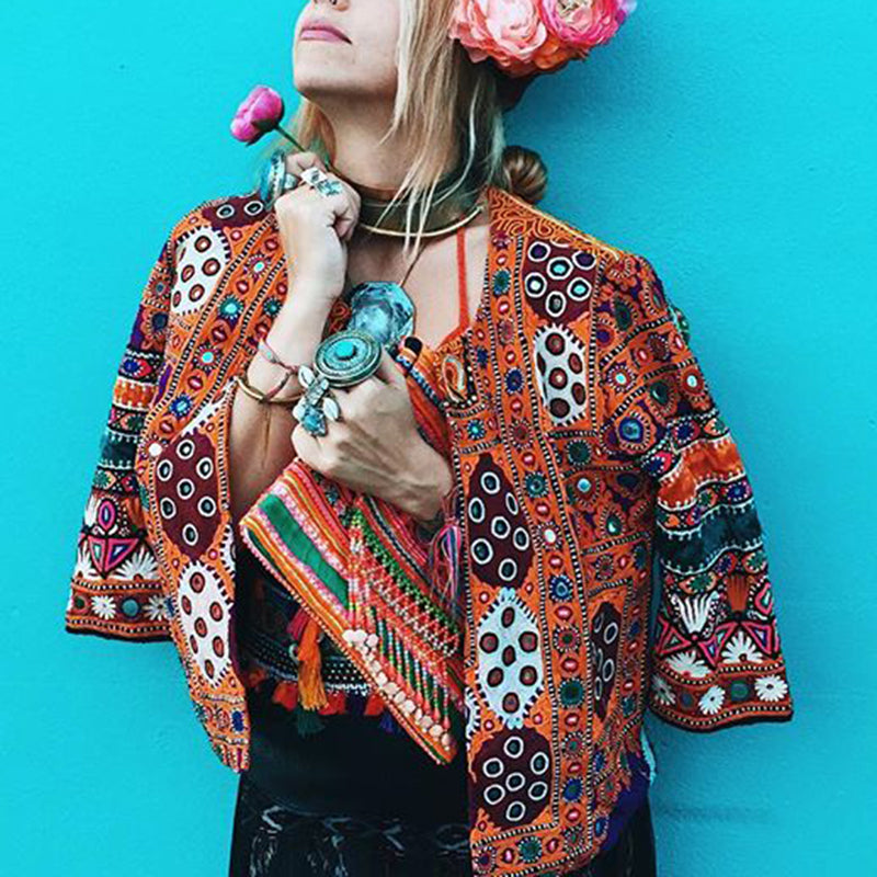 Bohemian Casual Printed Bracelet Sleeve Short Jacket