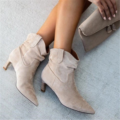 Women's Simple Solid Color Pointed Boots