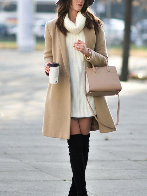 Casual Lapel Long Sleeved Solid Color Coat